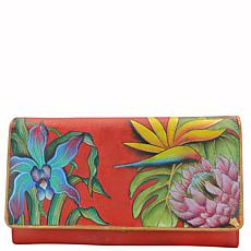 Anuschka Hand Painted Leather Accordion Flap Wallet