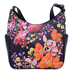 Anuschka Hand Painted Leather Classic Hobo with Studded Side Pockets
