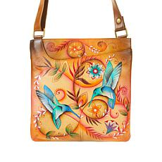 Anuschka Hand-Painted Leather Crossbody with Front Pocket