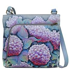 Anuschka Hand-Painted Leather Crossbody with Front Zip Organizer