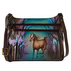 Anuschka Hand-Painted Leather Hobo Crossbody Bag
