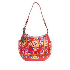 Anuschka Hand-Painted Leather Hobo with Coin Pouch