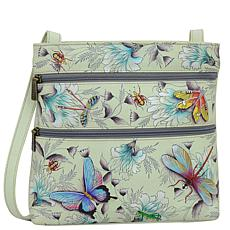 Anuschka Hand-Painted Leather Medium Crossbody with Double Zip Pockets
