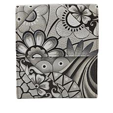 Anuschka Hand-Painted Leather Tri-Compartment Crossbody Wallet
