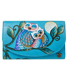 Anuschka Hand-Painted Leather Trifold Checkbook Wallet