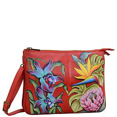 Anuschka Hand-Painted Leather Triple Compartment Crossbody