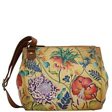 Anuschka Hand-Painted Leather Triple Compartment Medium Crossbody