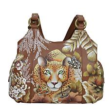 Anuschka Hand Painted Leather Triple Compartment Satchel