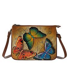 Anuschka Hand-Painted Leather Triple Zip Crossbody Bag