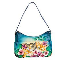 Anuschka Hand-Painted Leather Twin Top East-West Hobo