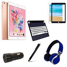 "Apple iPad 9.7"" 128GB in Gold w/Navy Blue Keyboard & Accessories"