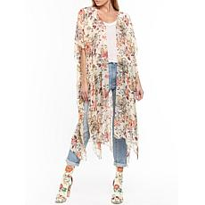 Aratta Eternal Love Hand Embellished Kimono - Pale Peach Floral