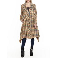 Aratta Ruffian Trench Coat - Tan Plaid