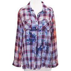 Aratta Stay True Washed Embroidered Plaid Shirt