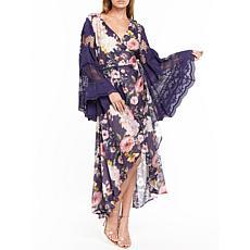 Aratta The Queen Maxi Wrap Dress - Blue Floral