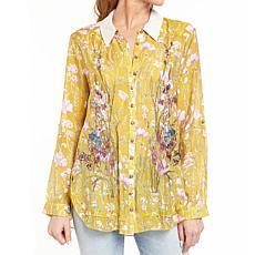 Aratta Timeless Embroidered Shirt - Mustard Floral