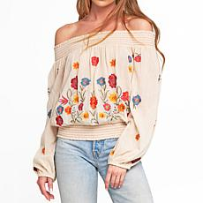 Aratta Vintage Off-the-Shoulder Tulips Blouse