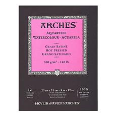 "Arches Watercolor Pad - 9"" x 12"" Hot Pressed 140 lb."