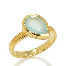 Argento Vivo Pear-Shaped Aqua Chalcedony Ring