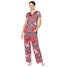 Aria Soft Touch Jersey PJ Set with Satin Trim d0e80ffd1