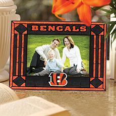 Art Glass Horizontal Photo Frame - Cincinnati Bengals