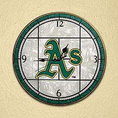 Art Glass Wall Clock - Oakland Athletics