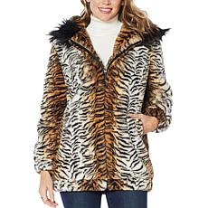 """As Is"" Adrienne Landau Blouson Faux Fur Coat with Hood"