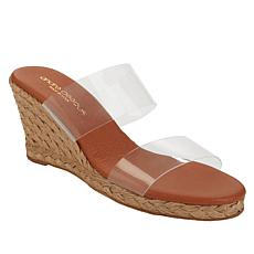 """As Is"" André Assous Anfisa 2-Band Vinyl Design Wedge Sandal"