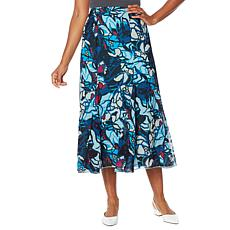 """As Is"" Antthony Chiffon Overlay Printed Gore Skirt"