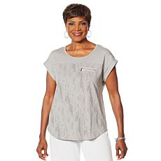 """As Is"" Antthony Contrast Yoke Top with Zipper Detail"