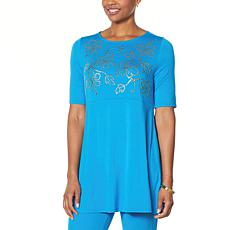 """As Is"" Antthony Embellished Elbow-Sleeve Tunic"