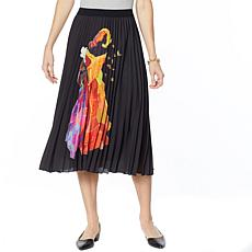 """As Is"" Antthony Holiday Luxe Lady Print Pleated Skirt"