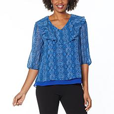 """As Is"" Antthony Holiday Luxe Printed Chiffon Ruffled V-Neck Tunic"