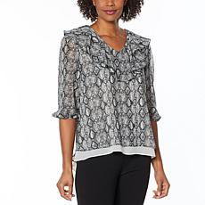 """""""As Is"""" Antthony Holiday Luxe Printed Chiffon Ruffled V-Neck Tunic"""