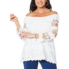 """As Is"" Antthony Off-the-Shoulder Crochet Lace Top"