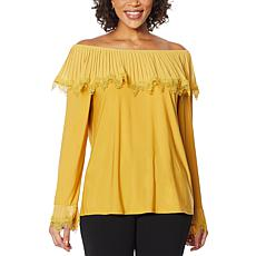 """As Is"" Antthony Pleated Ruffle Long-Sleeve Top"