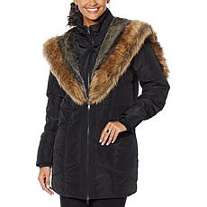 """""""As Is"""" Antthony Puffer Jacket with Faux Fur Trim"""