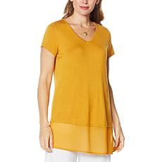 """""""As Is"""" Antthony Short-Sleeve Mixed Media Tunic"""