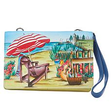 """""""As Is"""" Anuschka Hand Painted Leather 3-in-1 Organizer Crossbody Wa..."""
