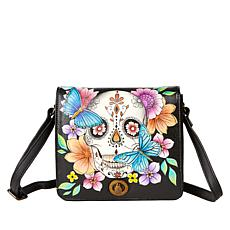 """""""As Is"""" Anuschka Hand-Painted Leather Flap Front Crossbody"""