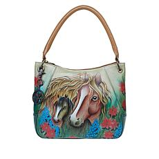 """As Is"" Anuschka Hand-Painted Leather Hobo Shoulder Bag"