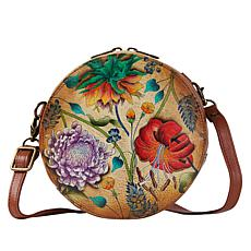 """""""As Is"""" Anuschka Hand Painted Leather Round Crossbody"""