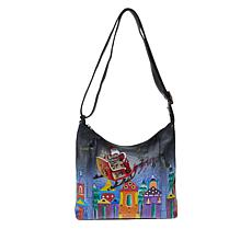 """""""As Is"""" Anuschka Hand-Painted Leather Shoulder Bag with Accessories"""