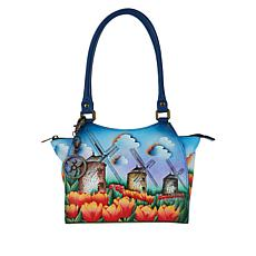 """As Is"" Anuschka Hand-Painted Leather Tote with Accessories"