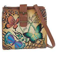 """As Is"" Anuschka Hand-Painted Leather Tri-Compartment Crossbody Bag"