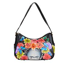 """""""As Is"""" Anuschka Hand-Painted Leather Twin Top East-West Hobo"""