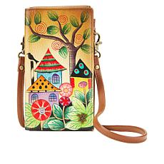 """""""As Is"""" Anuschka Hand-Painted Leather Wallet/Phone Organizer"""