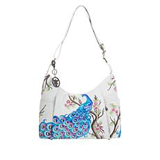 """""""As Is"""" Anuschka Hand-Painted Leather Zip-Front Hobo"""