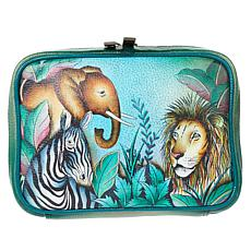 """""""As Is"""" Anuschka Hand-Painted Leather Zippered Jewelry Case"""