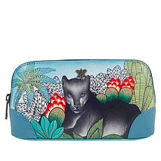 """As Is"" Anuschka Handpainted  Genuine Leather Cosmetic Case"